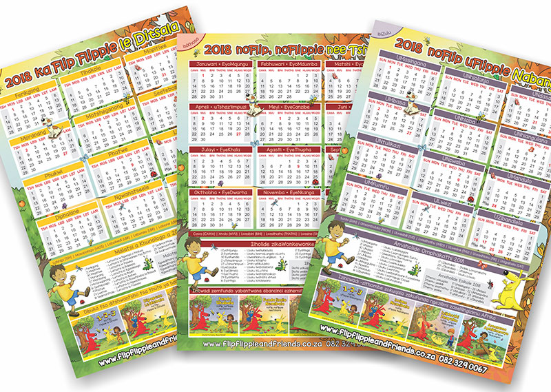 2018 Calendars in South African Languages are now available for free downloading on our website