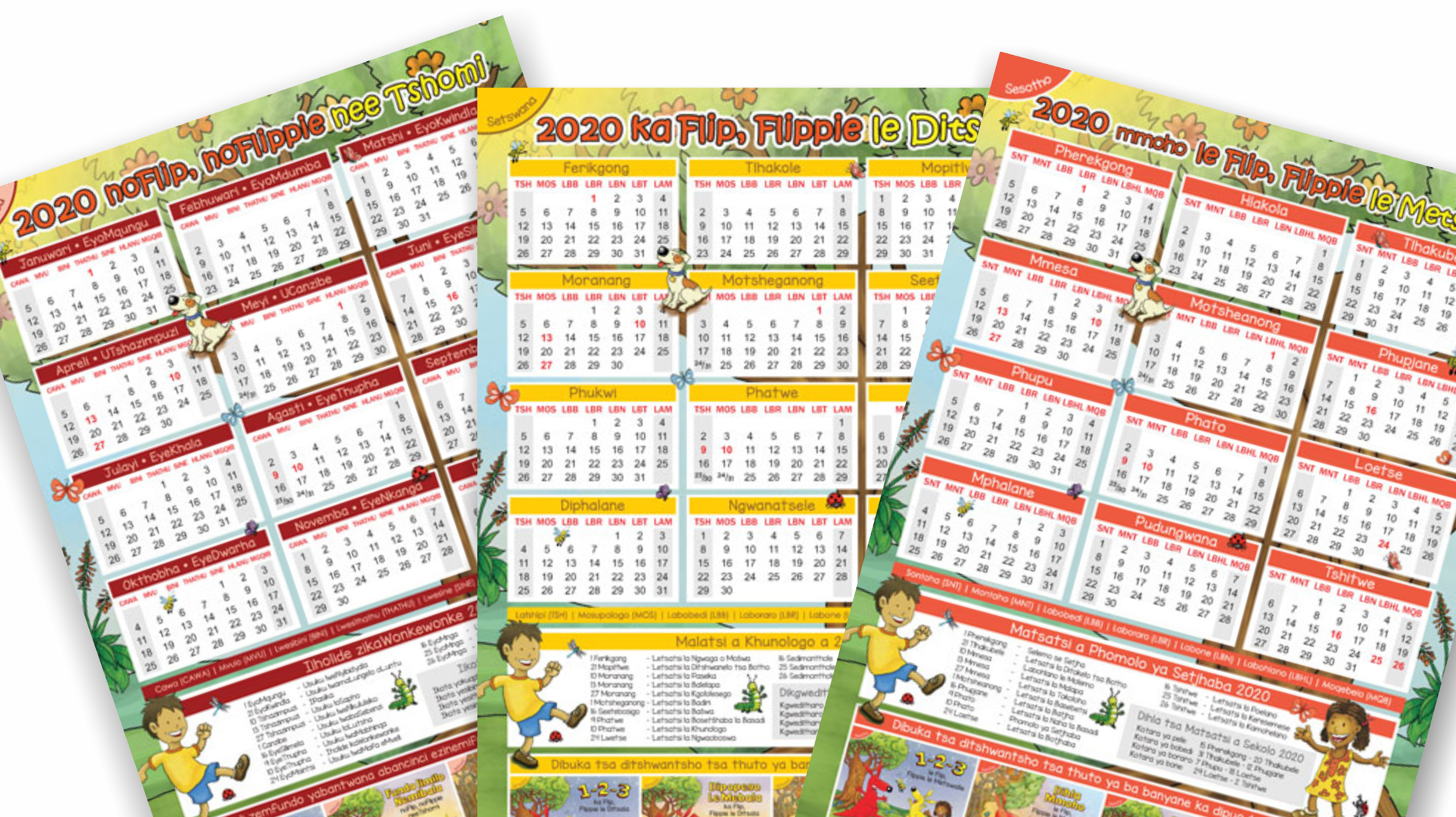 2020 Calendars in South African Languages are now available for free downloading on our website.